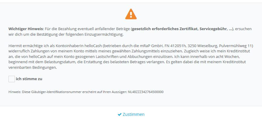 helloCash Zertifikat